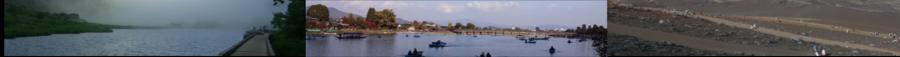 (左)群馬県 赤城公園 大沼、(中)京都市 嵯峨嵐山 渡月橋、(右)世界遺産 富士登山 須走ルート